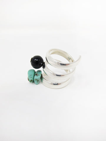 LL, LLC Maydeto II Ring, Silver w/Onyx and Green Turquoise