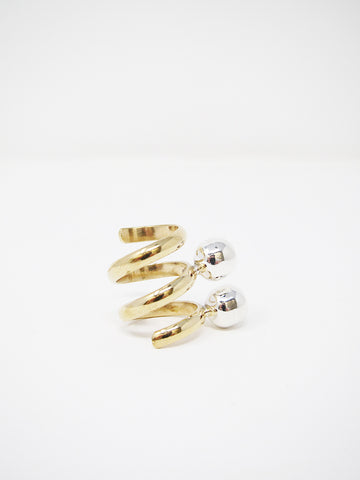 LL, LLC Maydeto II Ring, Tumbaga, Double Spiral w/Polished Silver Spheres