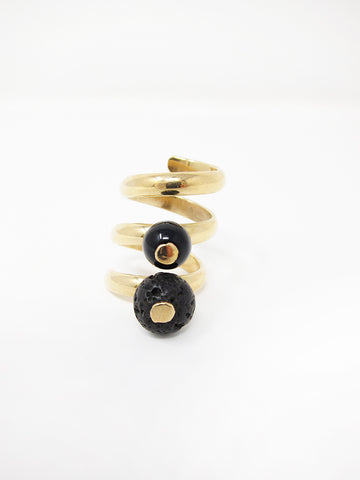 LL, LLC Maydeto II Ring, Tumbaga w/Onyx and Volcanic Rock
