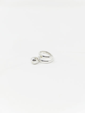 LL, LLC Maydeto I Ring, Sterling Silver, Single Spiral w/Silver Sphere