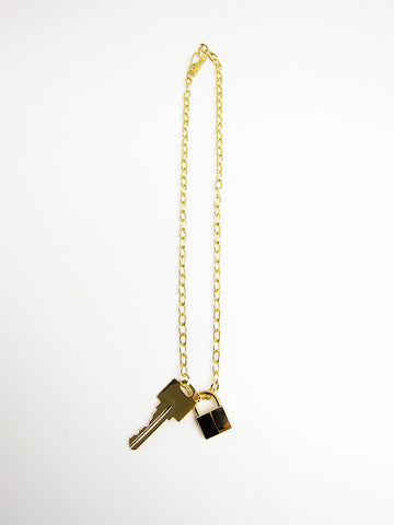 Lauren Klassen Lock and Key Necklace, Gold