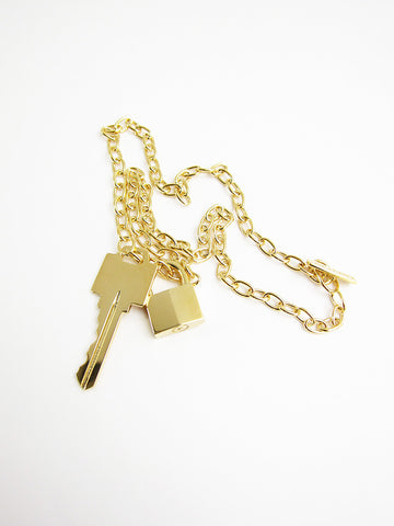 Lock and Key Necklace, Gold