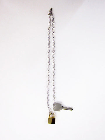 Lock and Key Necklace, Silver