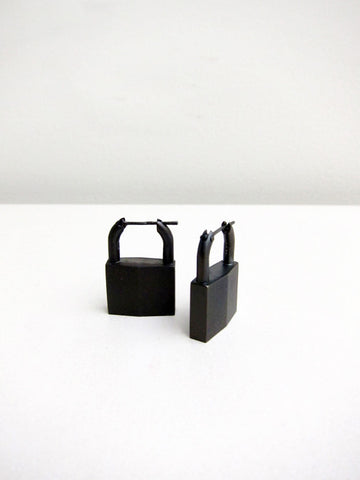 Lauren Klassen Padlock Earrings, Black Rhodium - Stand Up Comedy