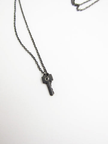 Tiny Key Necklace with Diamond