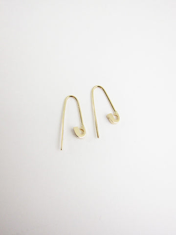 Tiny Safety Pin Hook Earrings, 14k gold