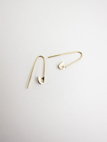 Lauren Klassen Tiny Safety Pin Hook Earrings, 14k gold - Stand Up Comedy