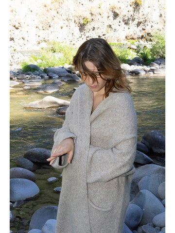 Lauren Manoogian Long Shawl Cardigan, Oatmeal