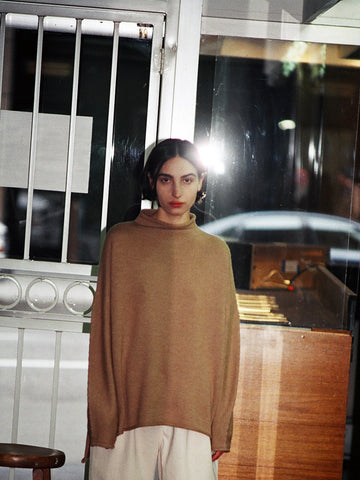Lauren Manoogian Oversized Rollneck Sweater, Camel