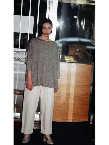 Lauren Manoogian Tier Pullover, Grey Flax