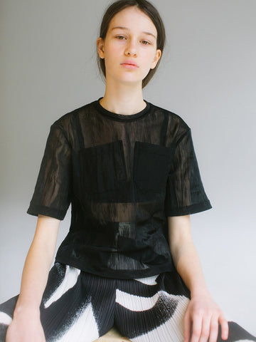Linder Tory Transparent Tee, Black Sheer