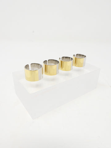 MM6 Maison Margiela Set of 4 Rings, Palladium/Gold