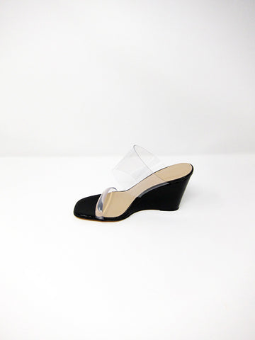 MNZ Olympia Wedge, Black Crinkle Patent/Clear