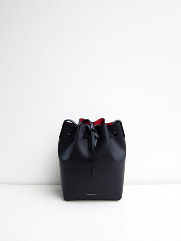 Mansur Gavriel Mini Bucket Bag, Black/Flamma