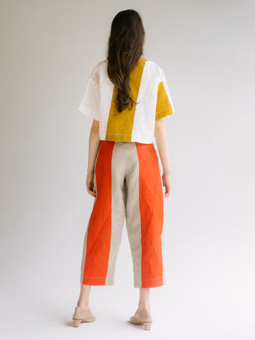 Nancy Stella Soto Cut Out Linen Trousers, Natural/Red