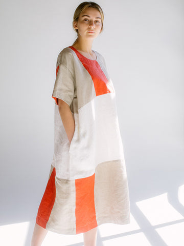 Nancy Stella Soto Linen Two Toned Dress, Natural/Red