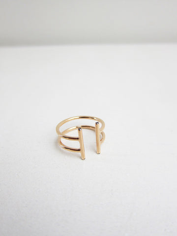 Natasha Wheat Double Non-Ring, Black Diamonds, Rose Gold