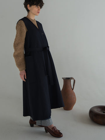 Studio Nicholson, Valletta Sleeveless Coat, Navy