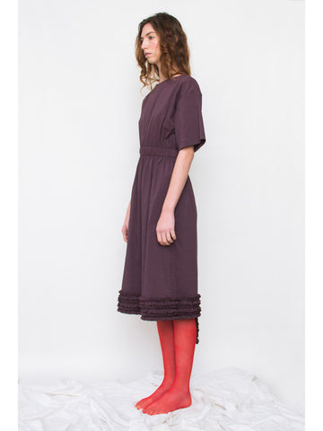 Unfinished Elastic Waist Ruffle Dress