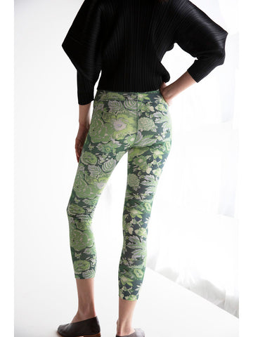 Suzanne Rae Athletic Legging, Green Floral Jersey