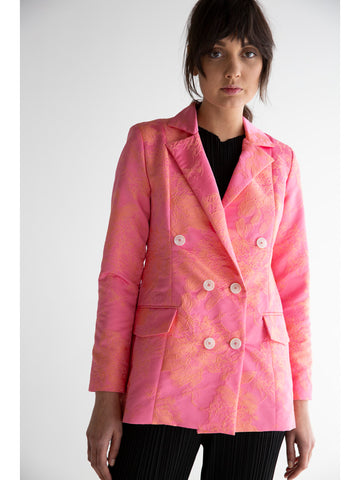 Suzanne Rae Fitted Blazer, Floral Jacquard
