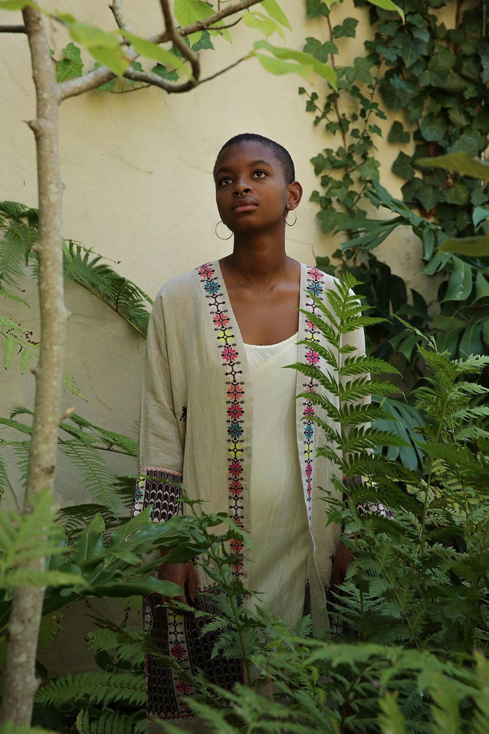 uma coat in embroidered natural linen