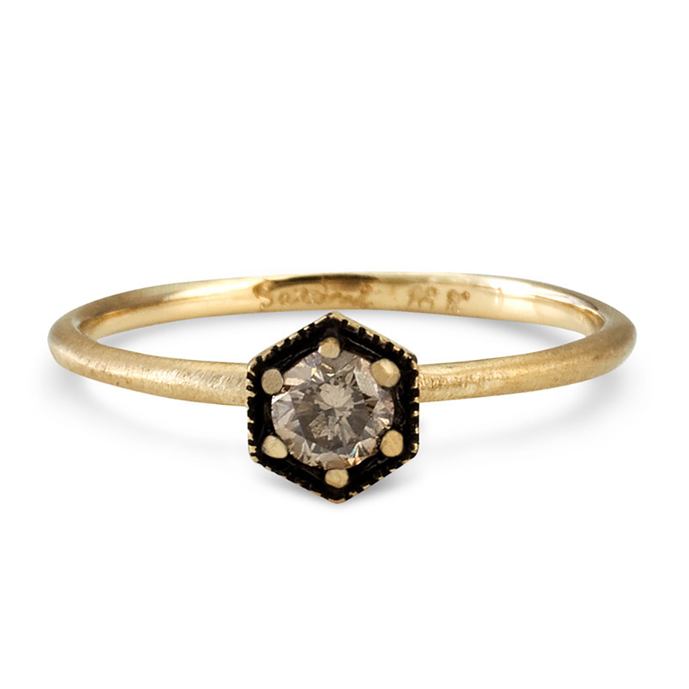 18k gold ring with brown diamond