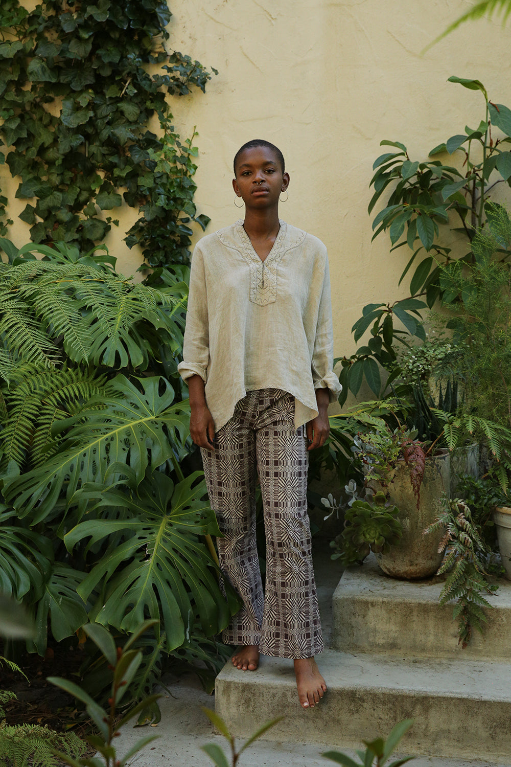 aarika top in hand-embroidered natural linen