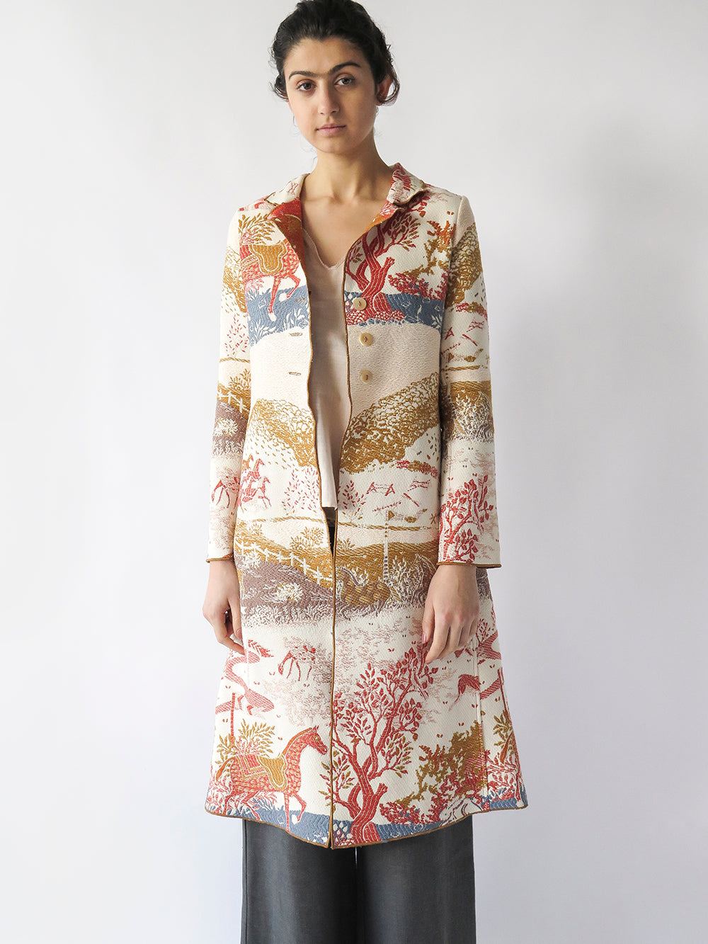 baudelaire coat in pastoral tapestry