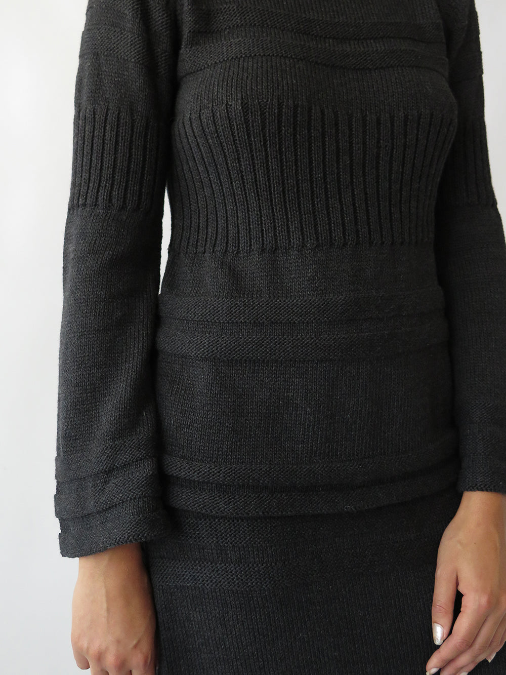 bell sleeve pullover in charcoal