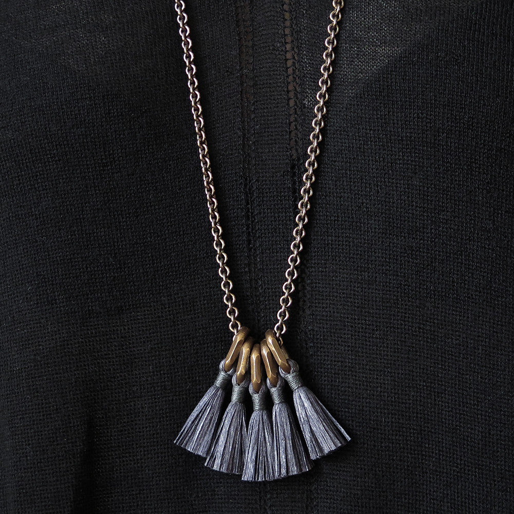 boet charcoal silk tassel necklace