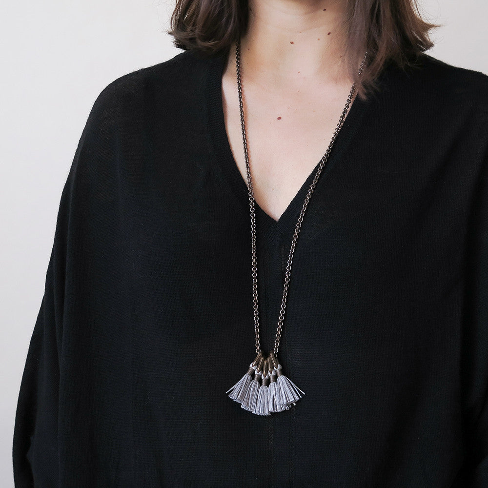 boet silver silk tassel necklace