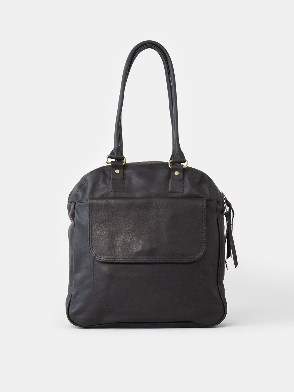 leather bowling bag in black