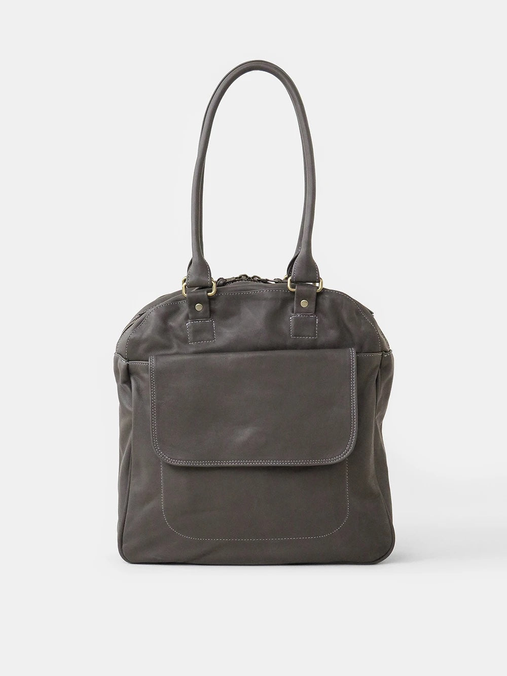 leather bowling bag in dark grey