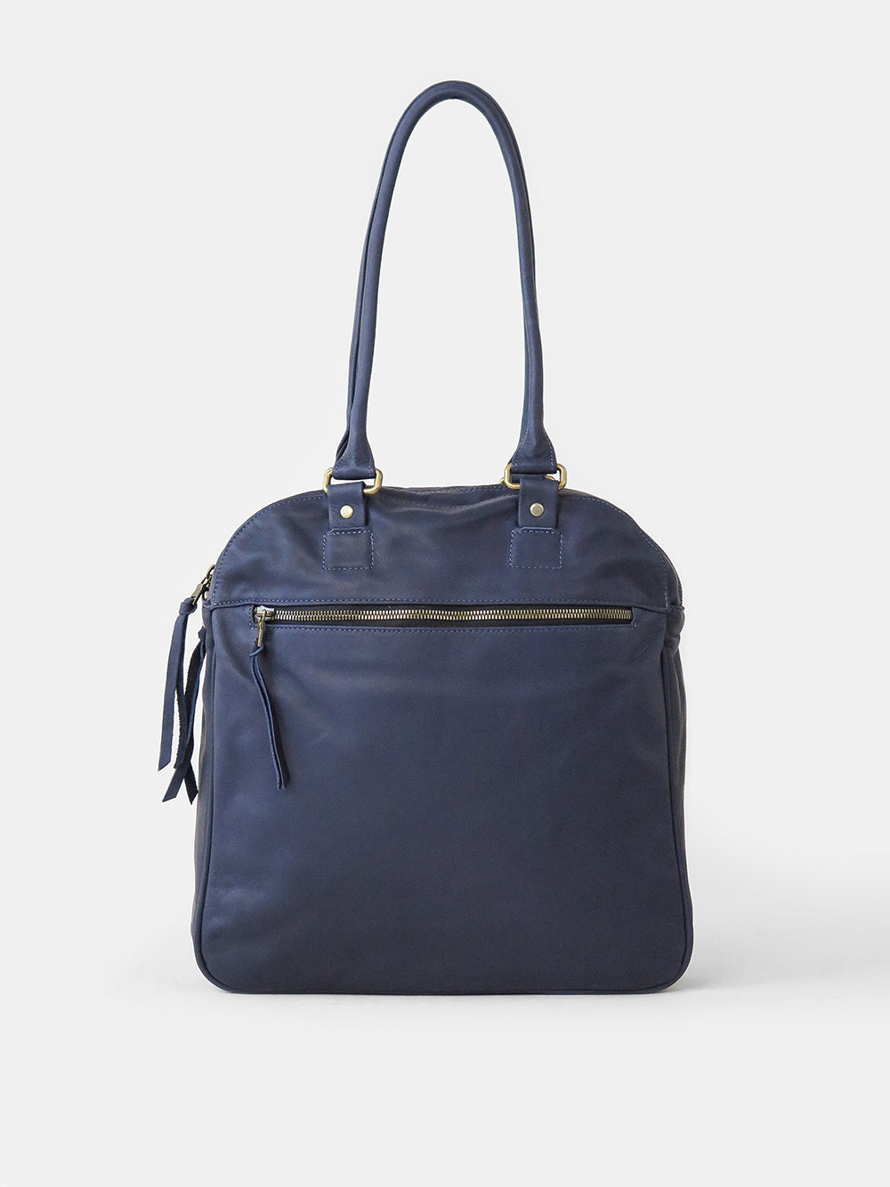 leather bowling bag in navy