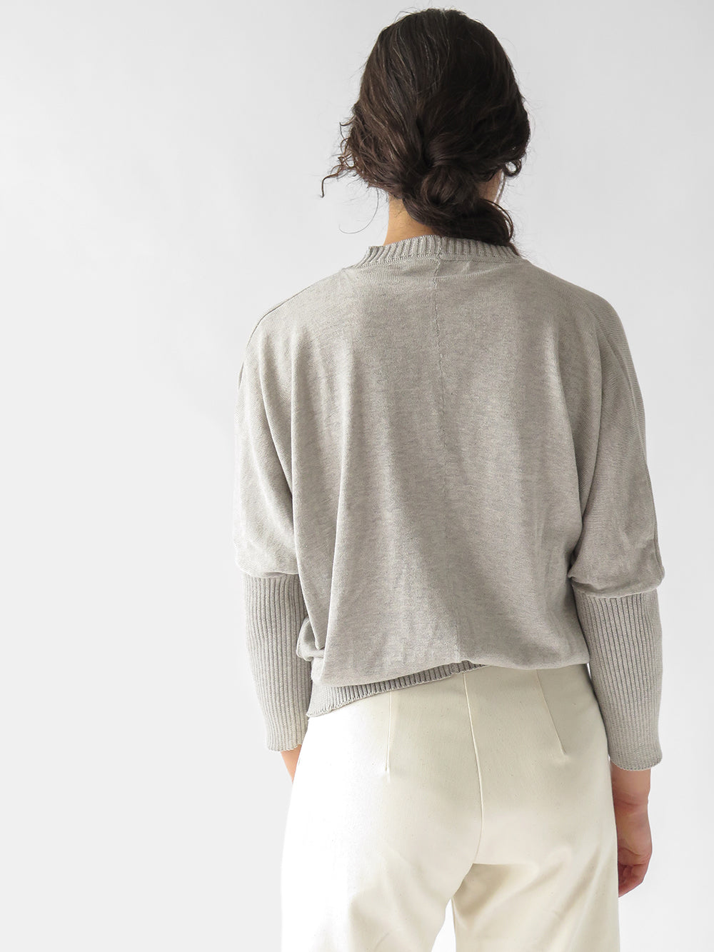 box cardigan in light grey