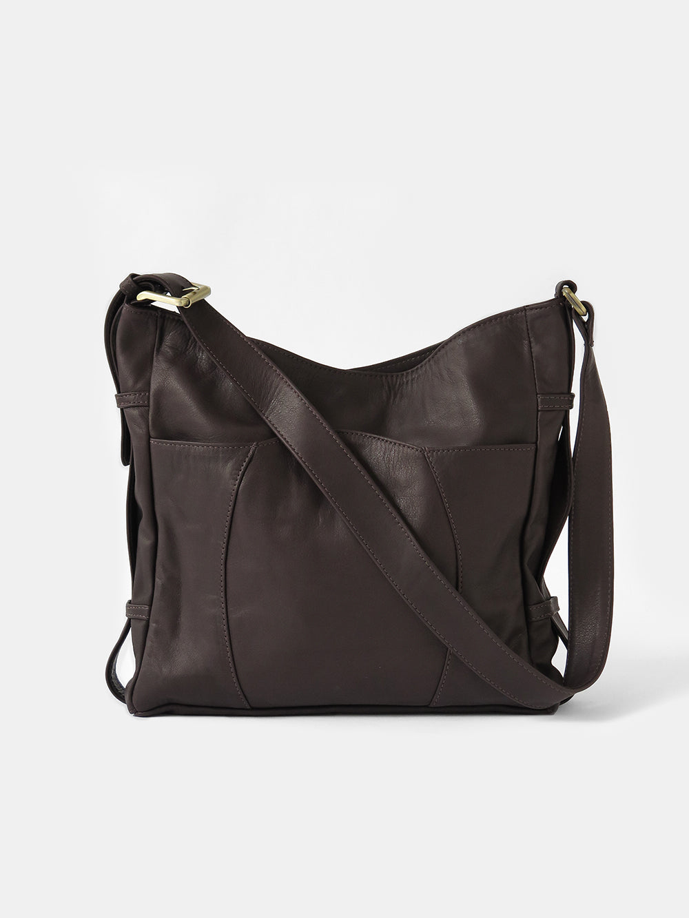 leather buckle bag in dark chocolate
