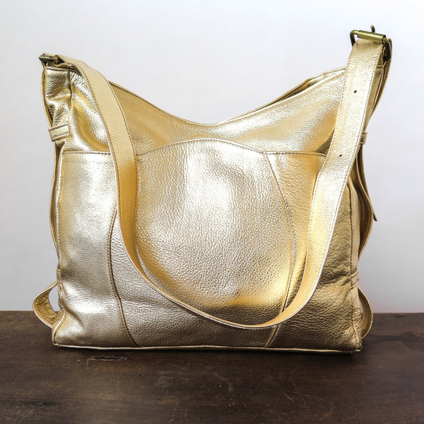 metallic leather buckle bag