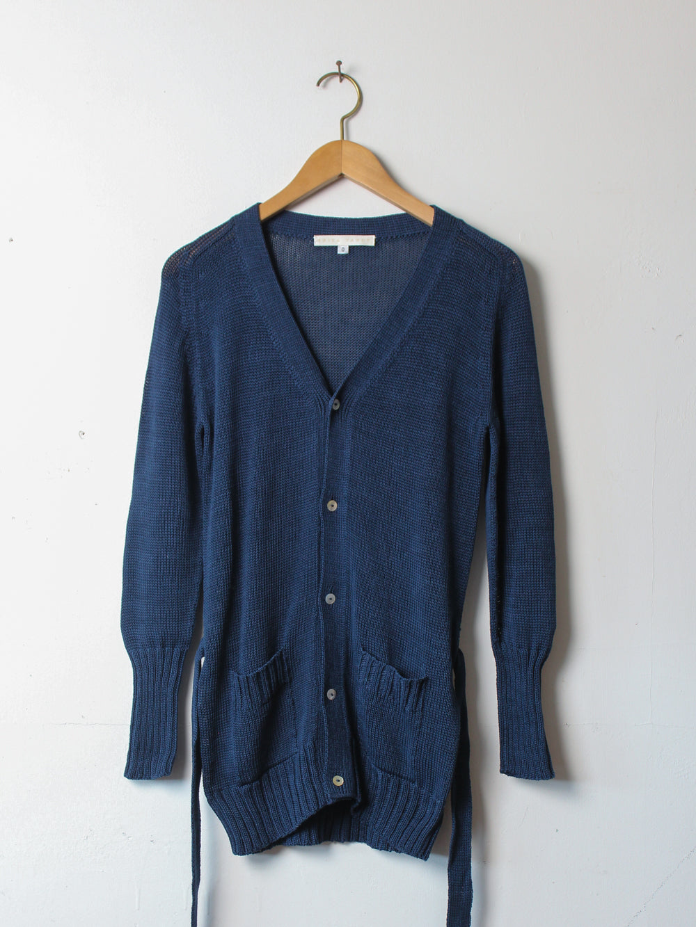signature long belted cardigan in navy