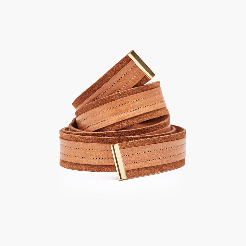 closed leather + suede belt
