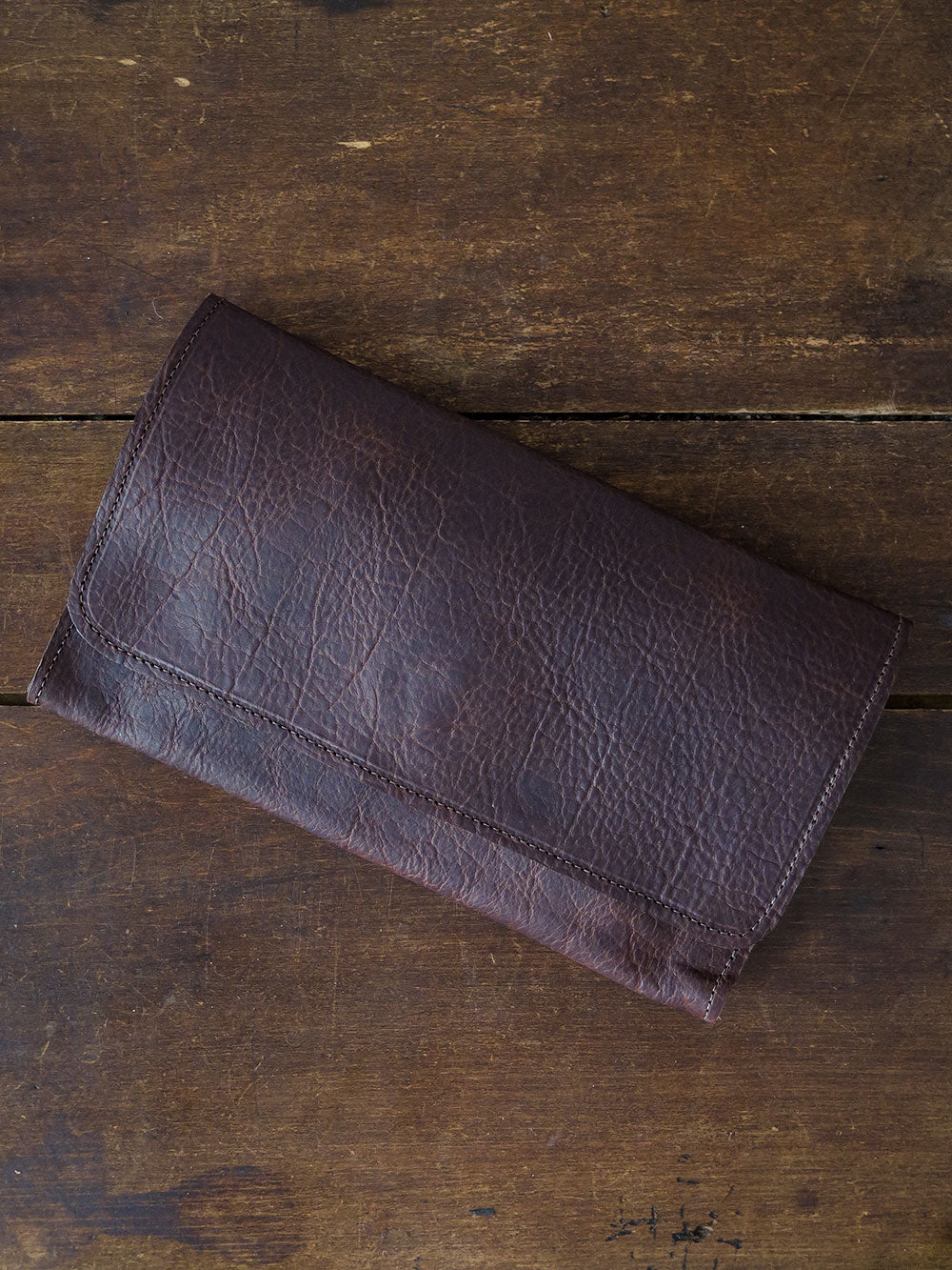 bison leather clutch