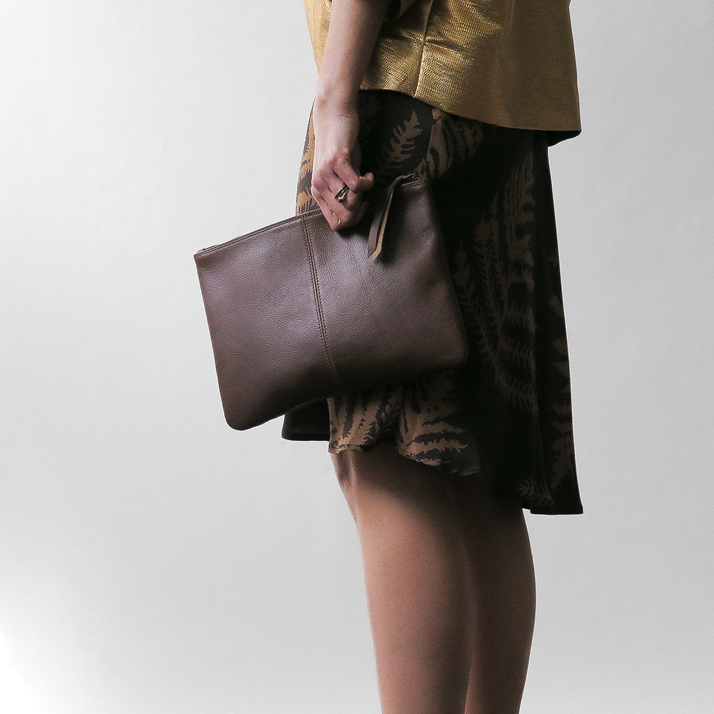elke leather clutch