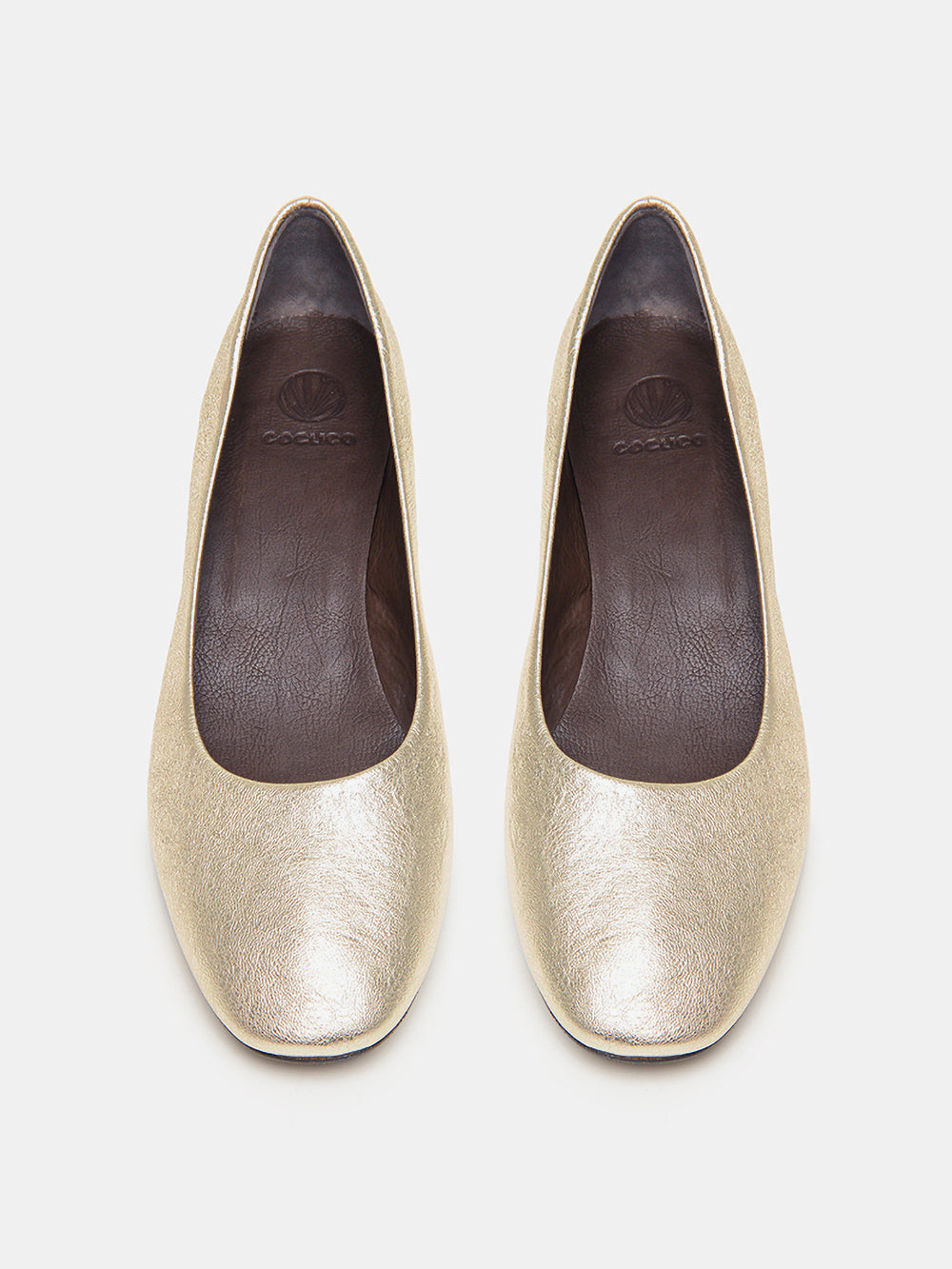 elegant & classic, block-heel foiled metallic leather pump by coclico