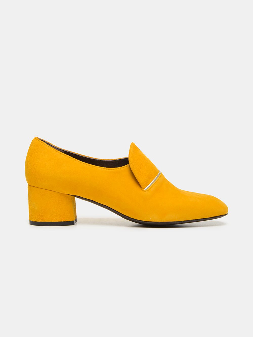 coclico modern, elegant & classic mid-heeled loafer in kid suede with metallic piping