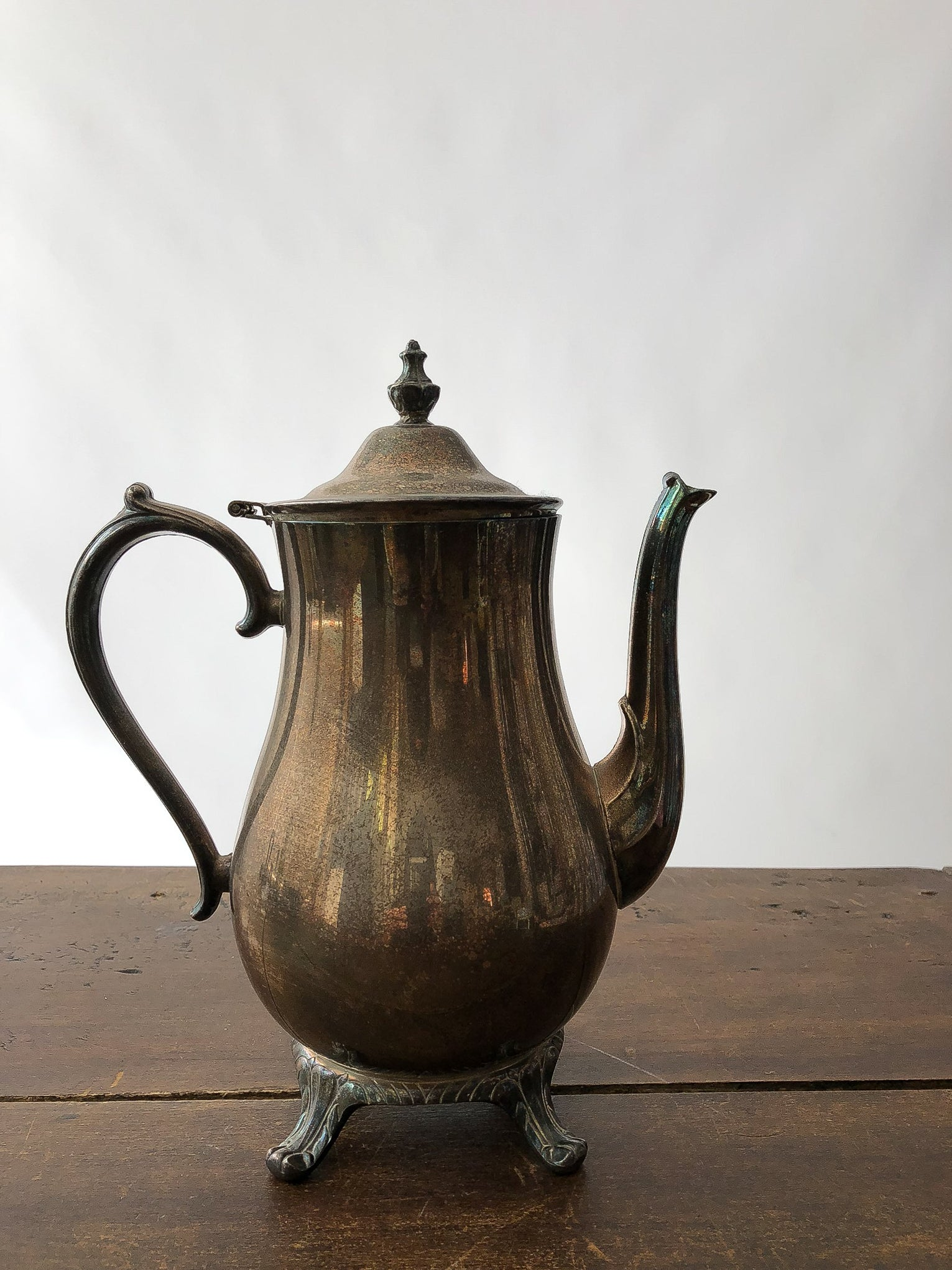 dimpled silver tea pot