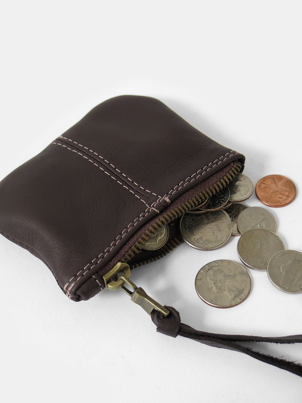 leather coin purse in dark chocolate