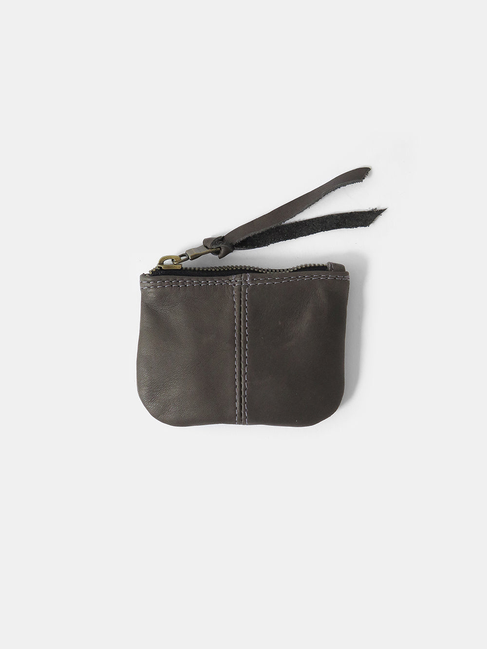 leather coin purse in dark grey