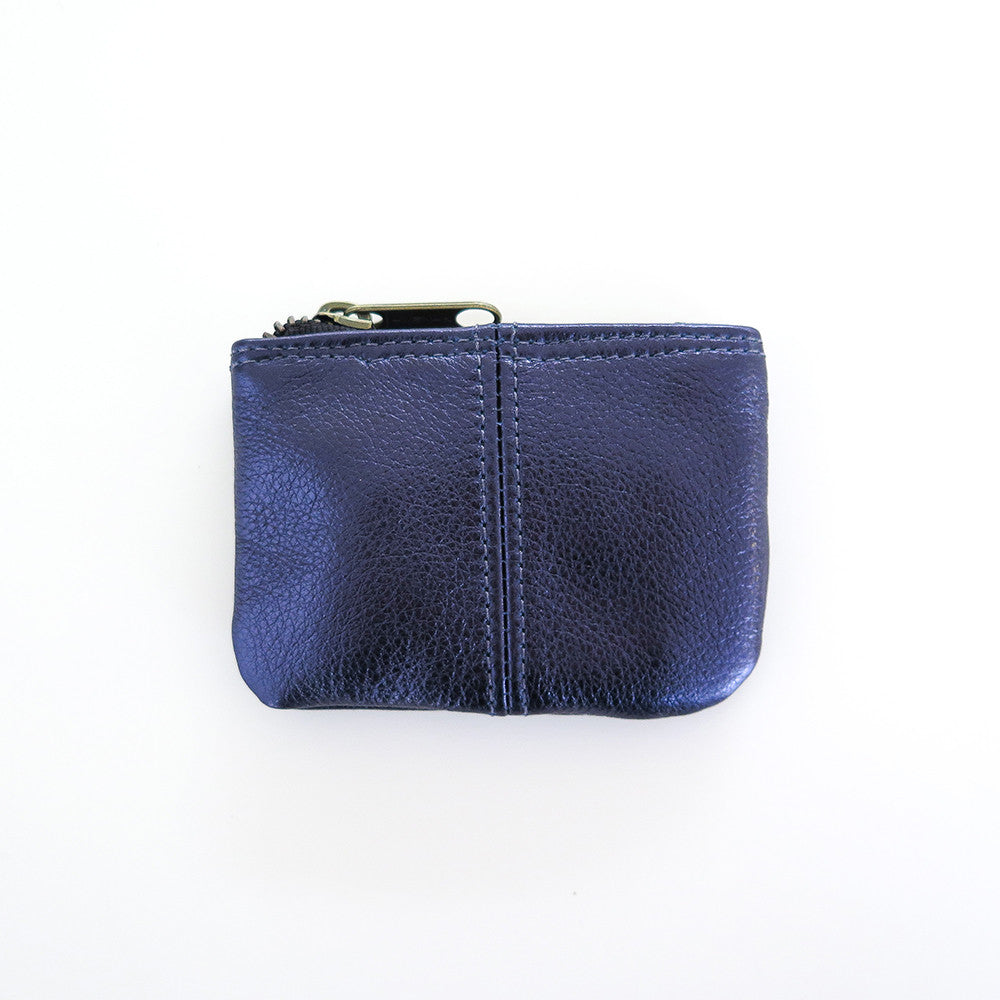 metallic leather coin pouch