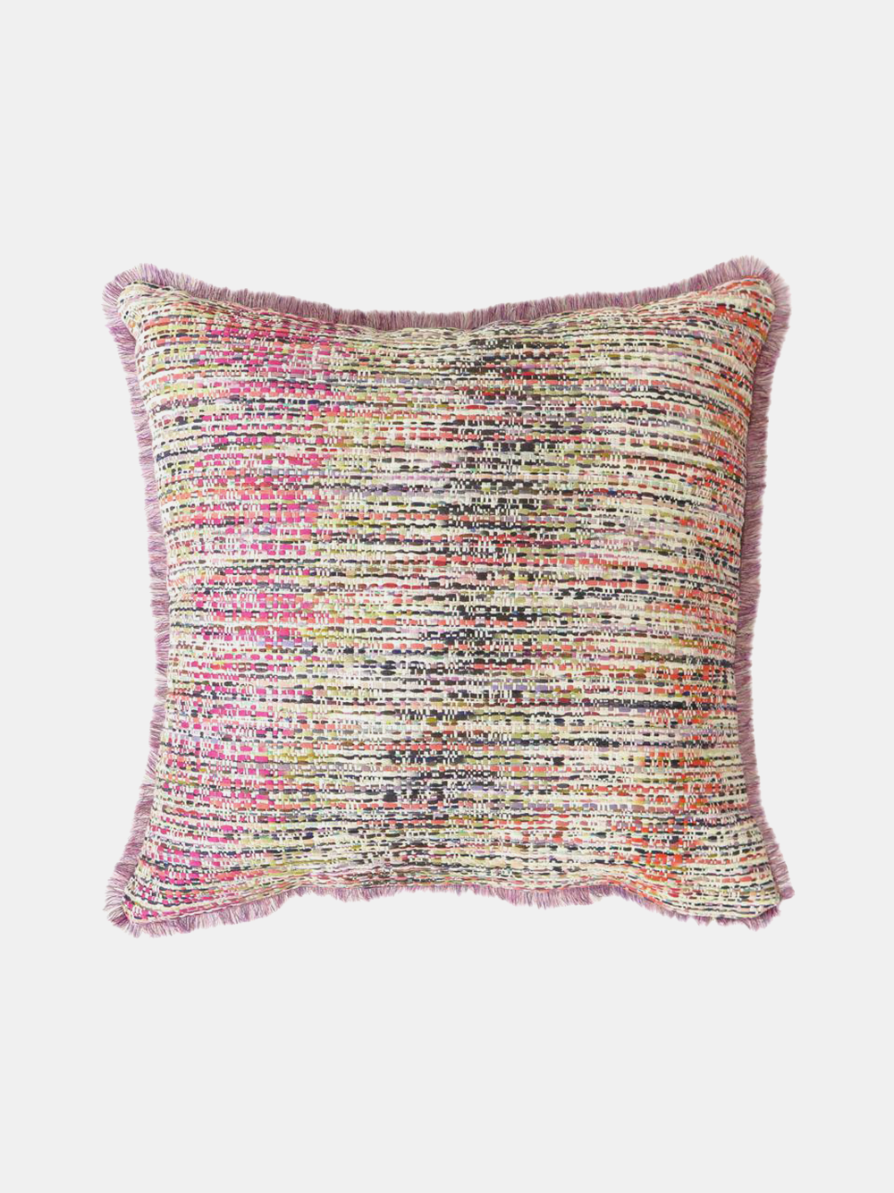 tapestry throw pillow in pink confetti tweed