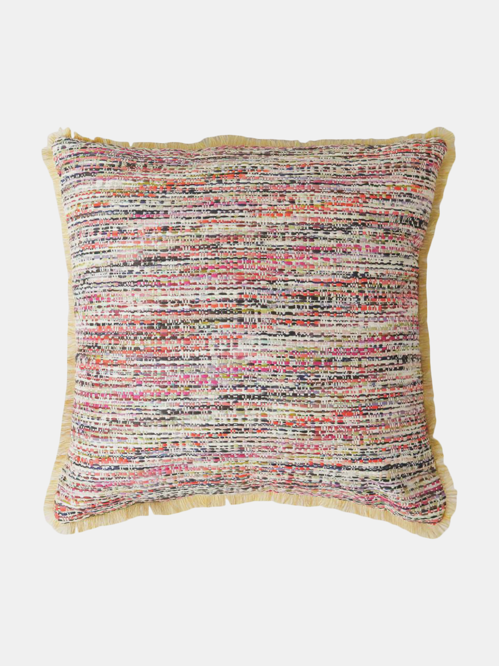 tapestry throw pillow in yellow confetti tweed